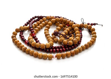 Two types of Buddhist rosaries with 108 beads on each, isolated on a white background