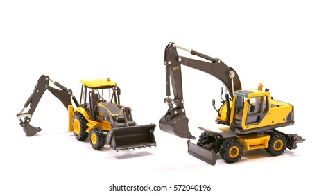 two types of excavator on white background