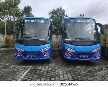 two units of blue school buses were prepared to transport school children. Pangkalan Bun, Central Kalimantan, October 02, 2020.
