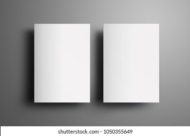 Two universal blank closed A4, (A5) brochures with soft realistic shadows  isolated on gray background. Top of view. Template can be used for your showcase.