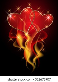 Two Valentine hearts in burning flame with decorative smoke and stars
