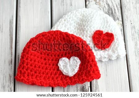 3b5fb941dbb Two Valentines Day Crochet Baby Hats Stock Photo (Edit Now ...