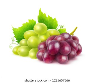 Two varieties of grapes. Bunches of white and red grapes isolated on white background with clipping path