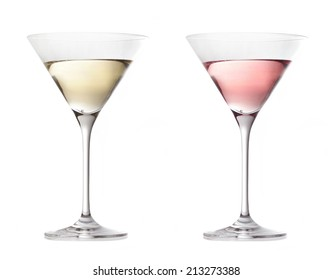 two various glasses of martini isolated on a white background