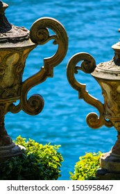 two vases nearby in the garden of balbianello in the comune of Lenno, Italy, overlooking Lake Como.