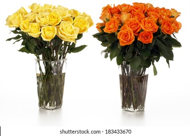 Two Vases of Yellow and Orange Roses
