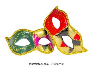 Two Venetian carnival half-mask gold red green black pink asymmetry pattern isolated white background