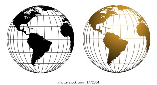 Two versions of a vector illustration of a wireframe style globe in black and gold tones.