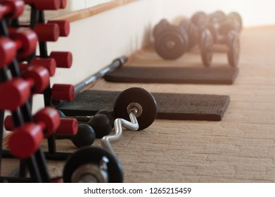 Two vertical rows of red metal dumbbells on rack in the gym sport club. Weight training equipment several red dumbbells on a black rack.