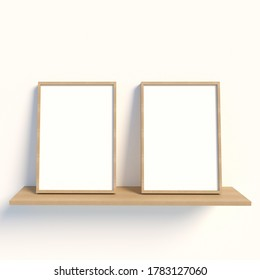 Two vertical Wooden frame mock up on a White Background