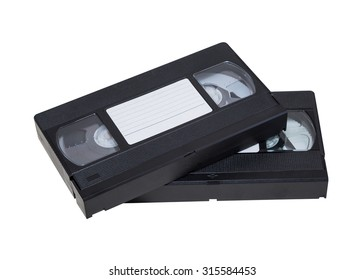 Two videocassette close-up on a white background. old, record sound and images