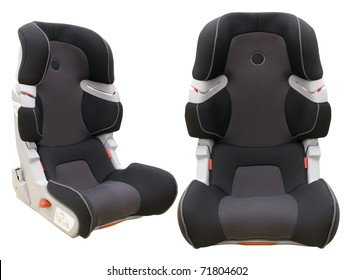two view angles of safety child car seat isolated on white background