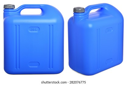 two views of blue plastic 20-liter gallon on a white background