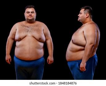 Two views of young shirtless fat man: front and profile shot, isolated on black background