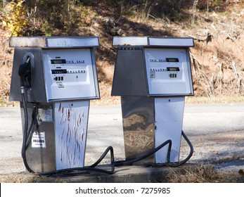 Two vintage gas pumps