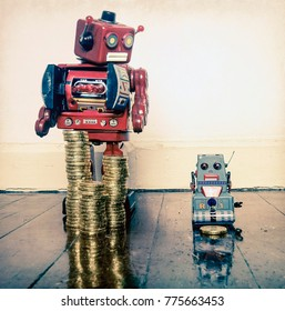 two vintage robots  with gold money on a wooden floor with reflection ,concept inequality,.