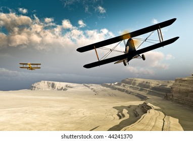 Two vintage World War I double wing BiPlanes / Planes flying over a deep rough canyon before a stratocumulus cloud front. Original Illustration