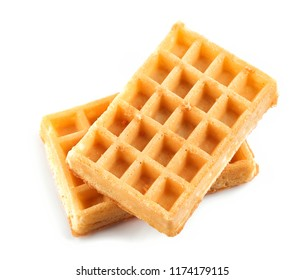 two waffles isolated on white background, top view