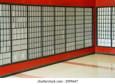 Two walls of small private mailboxes in a mailbox store