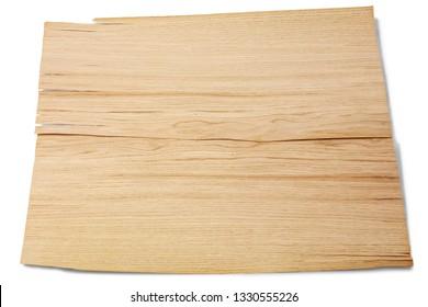 two walnut wood plate on wihte