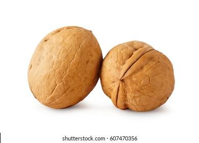 Two walnuts isolated on white background