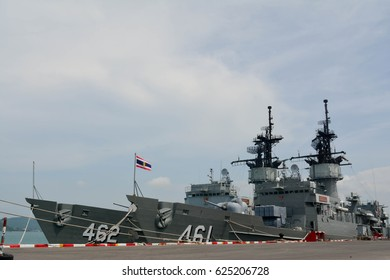 The two warship parked in the dock at Thailand on May 5, 2015.