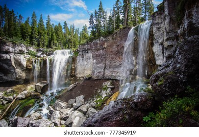two waterfalls in Oregon forest