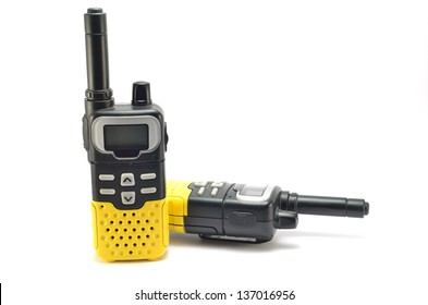 Two way radios on a white background in different positions