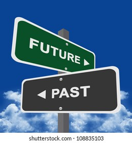 Two Way Street Sign Pointing to Future and Past With Blue sky Background