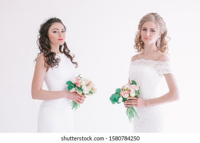 two wedding bride with bouquet wedding white