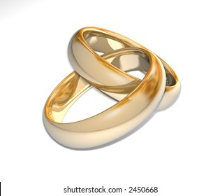 Two wedding ring on a grey background 3D