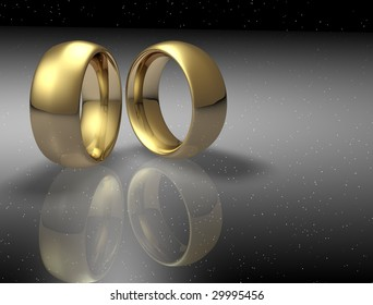 Two wedding ring on a night sky background