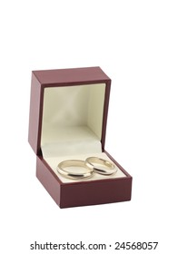 two wedding rings in box