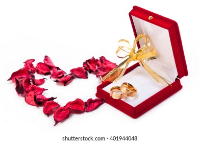 Two wedding rings in a gift box