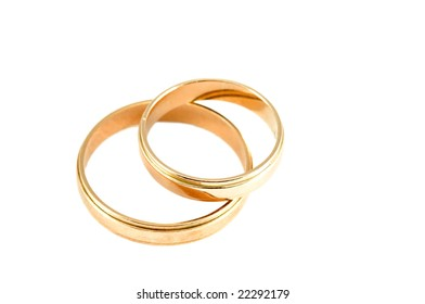 Two wedding rings isolated on a white