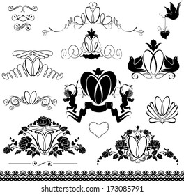 Two wedding rings - Vintage ornaments, calligraphic design elements and page decorations for wedding invitation, black and white version.  Raster version