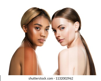 Two wemen with dark and light skin tone caucasian and african american models with different skintones lines beauty healthy concept
