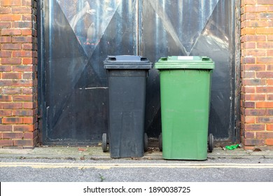 Two wheelie bins side by side outside a home in the UK
