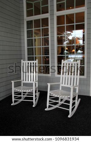 Two White Adirondack Rocking Chairs Set Stock Photo Edit Now