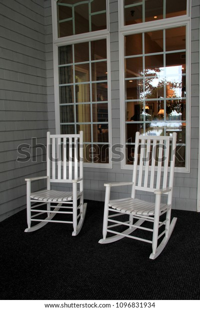 Fantastic Two White Adirondack Rocking Chairs Set Stock Photo Edit Pdpeps Interior Chair Design Pdpepsorg