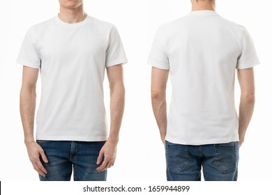 Two white blank t-shirts isolated on white background on unrecognizable man for template design