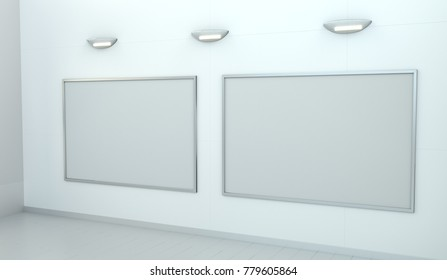 Two white blanks canvas on white wall with lamps 3D rendering