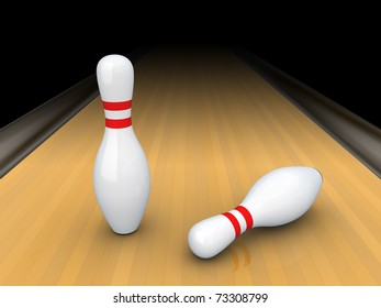Two white bowling pins isolated on black.