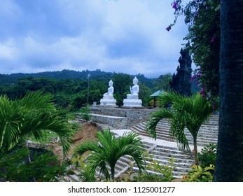 Two White Buddha Statues In The Garden Yard Brahmavihara Arama Monastery North Bali
