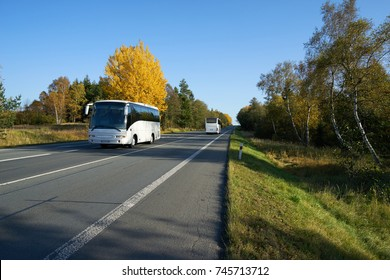 Two white buses traveling on the asphalt road leading through a forest in autumn colors