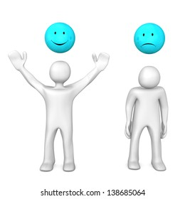 Two white cartoons with cheerful and sadly smileys. White background.