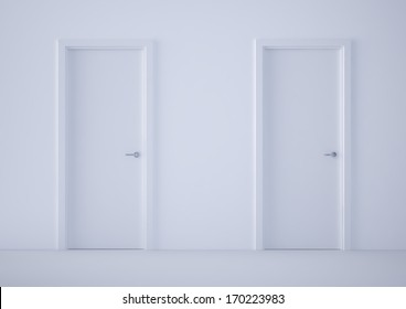 two white closed doors