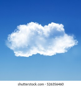 Two white clouds isolated over blue background, 3D rendering illustration, design elements