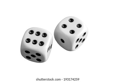 Two white dice gamble on a background
