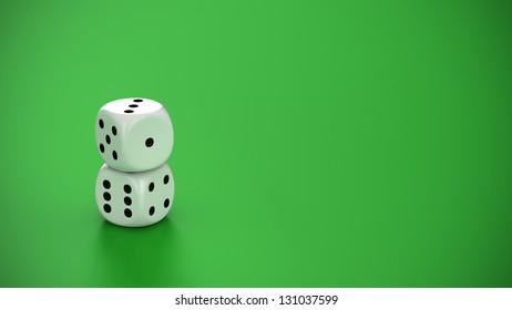 Two white dice on the green background